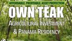 Panama Teak Investment with Visa and Residency